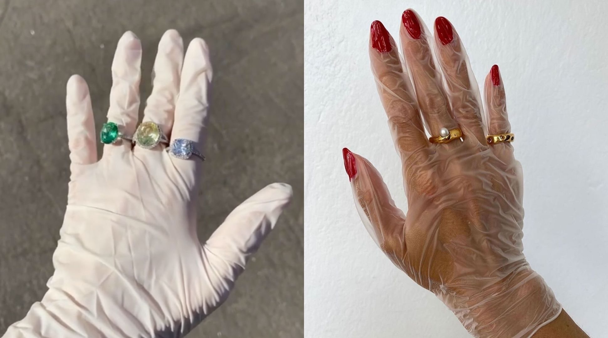 Influencers are dressing up their gloves up their statement rings
