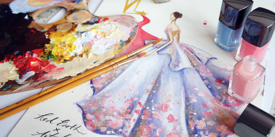 Check out These Beautiful Fashion Sketches Drawn Entirely from Nail Varnish