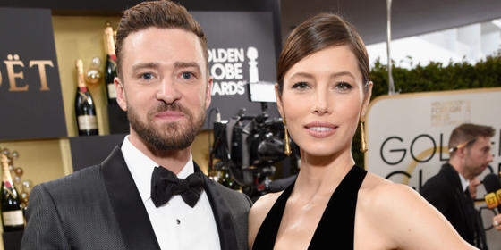 Justin Timberlake Couldn't Stop Looking at Jessica Biel at the Golden Globes