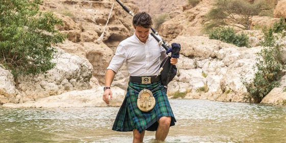 Have You Seen This Super Cute Scottish Bagpiper Around Dubai?
