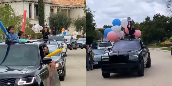 The Kardashians had a social distancing car parade for Kourtney's birthday