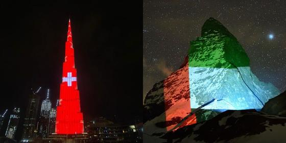 Burj Khalifa lights up for Switzerland as a thank you for projecting the UAE flag