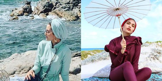 These modest swimsuits are giving us major baywatch vibes