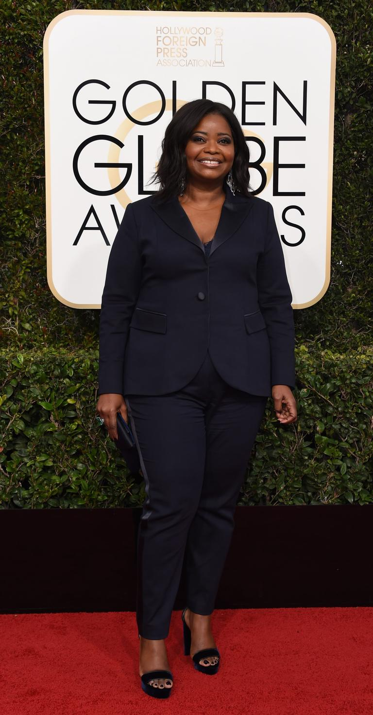 The Hidden figures star at The Golden Globe Awards in a Laura Basci navy blue suit