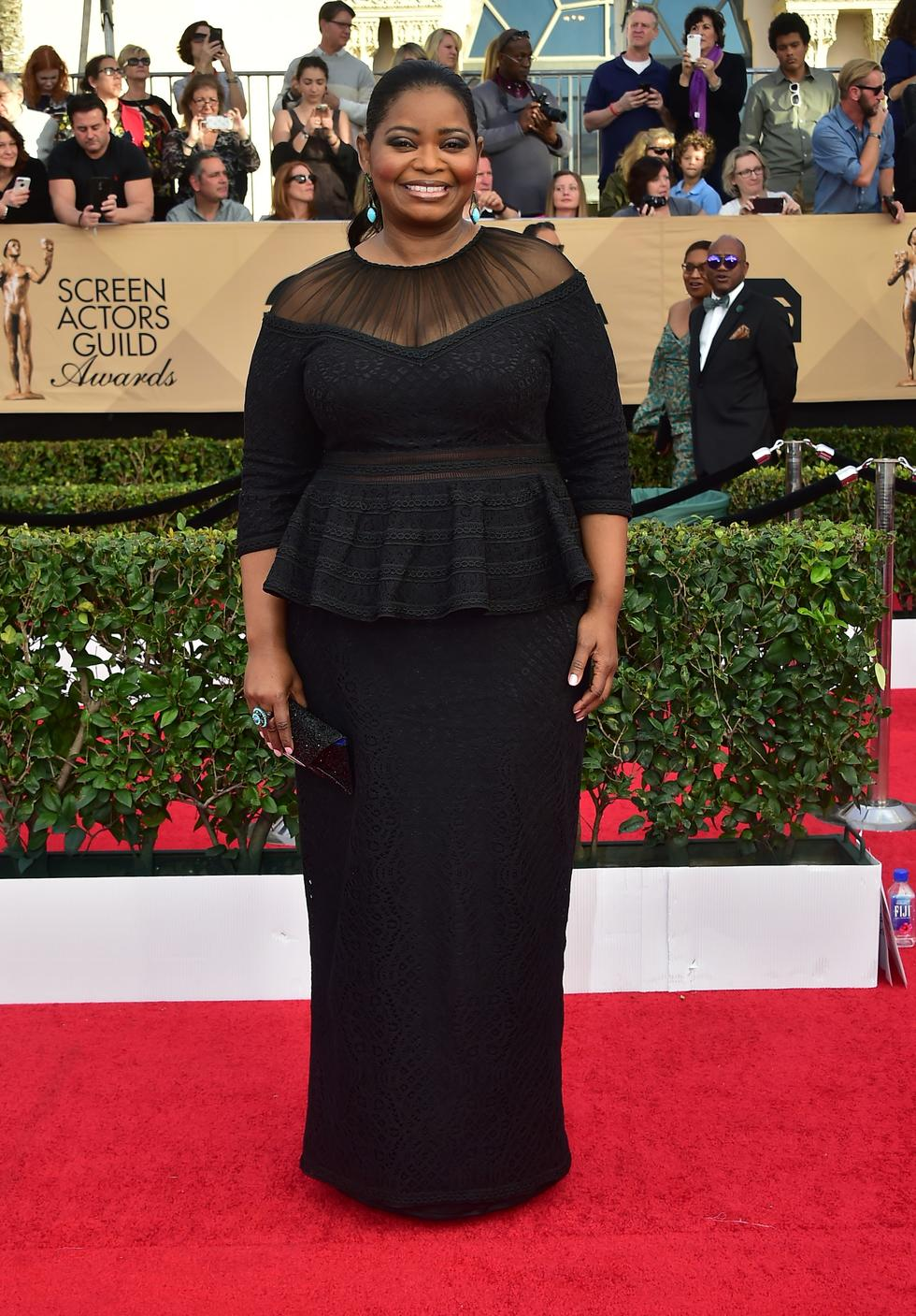 Actress Octavia Spencer at The Annual Screen Actors Guild Awards in an Adashi Shoji gown
