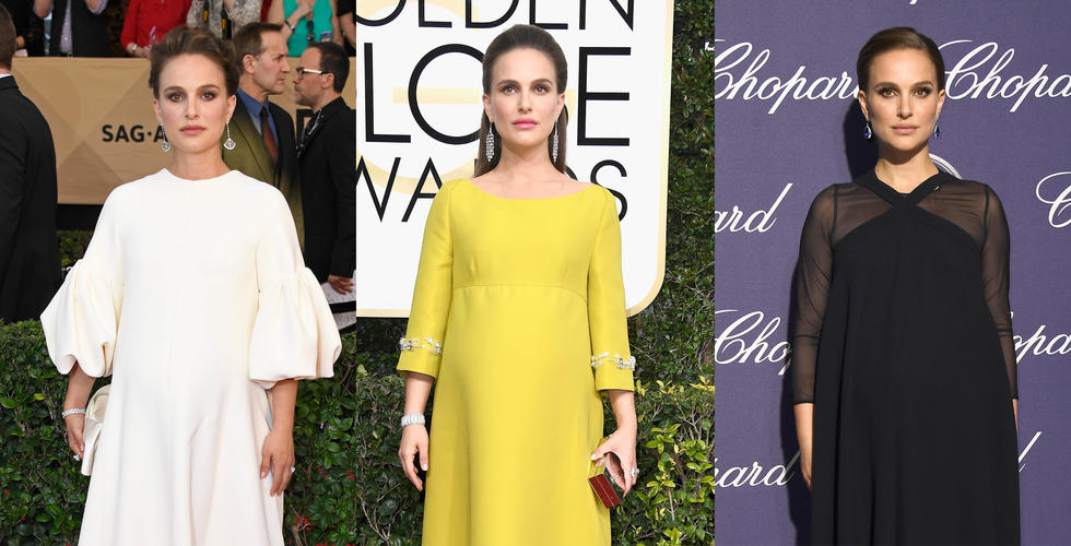 Take a look at Best Actress nominee Natalie Portman's best red carpet maternity looks...