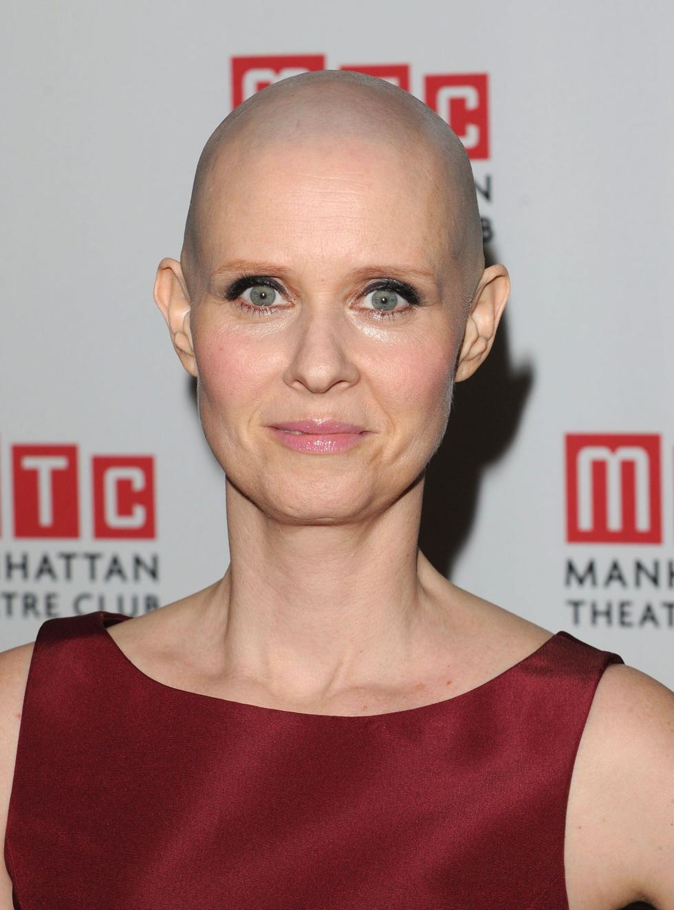 """In 2012, 'Sex and the City' star Cynthia Nixon went bald to play a cancer patient in the play, 'Wit'.  """"I thought it was kind of gonna be no muss-no fuss, but I have to shave it every day,"""" she said of the look. """"It's got kind of a five o'clock shadow, and you don't want to go on with that."""""""