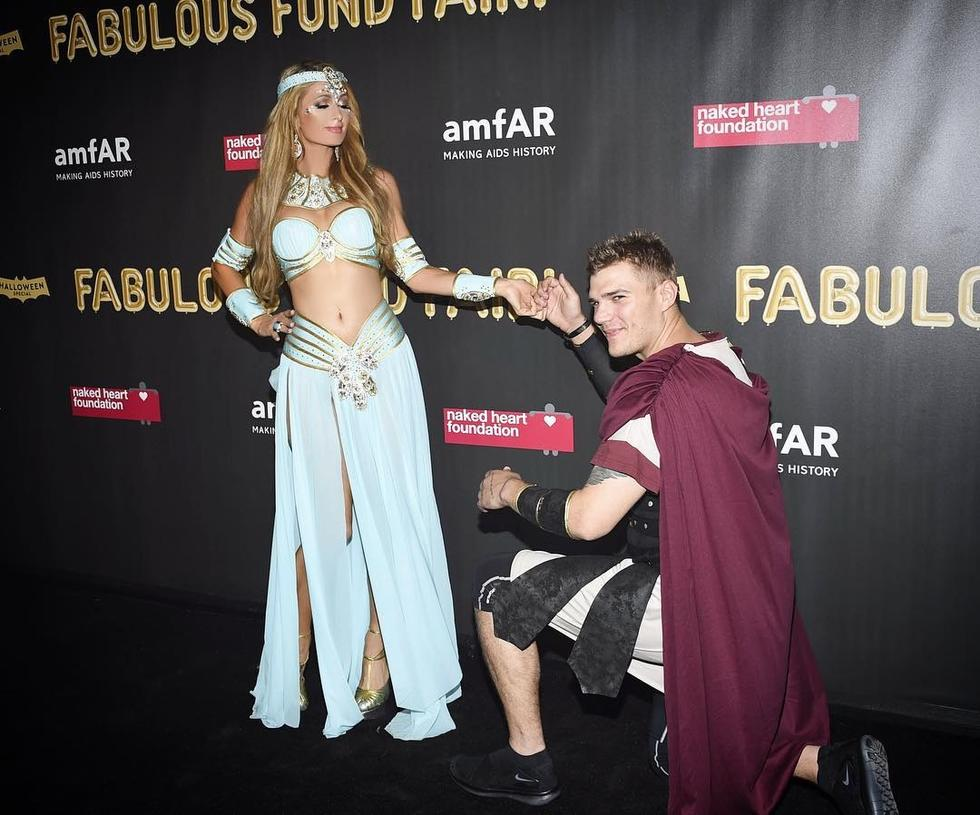 Paris Hilton looked beautiful dressed up as Princess Jasmine with boyfriend Chris Zylka as the gladiator by her side.
