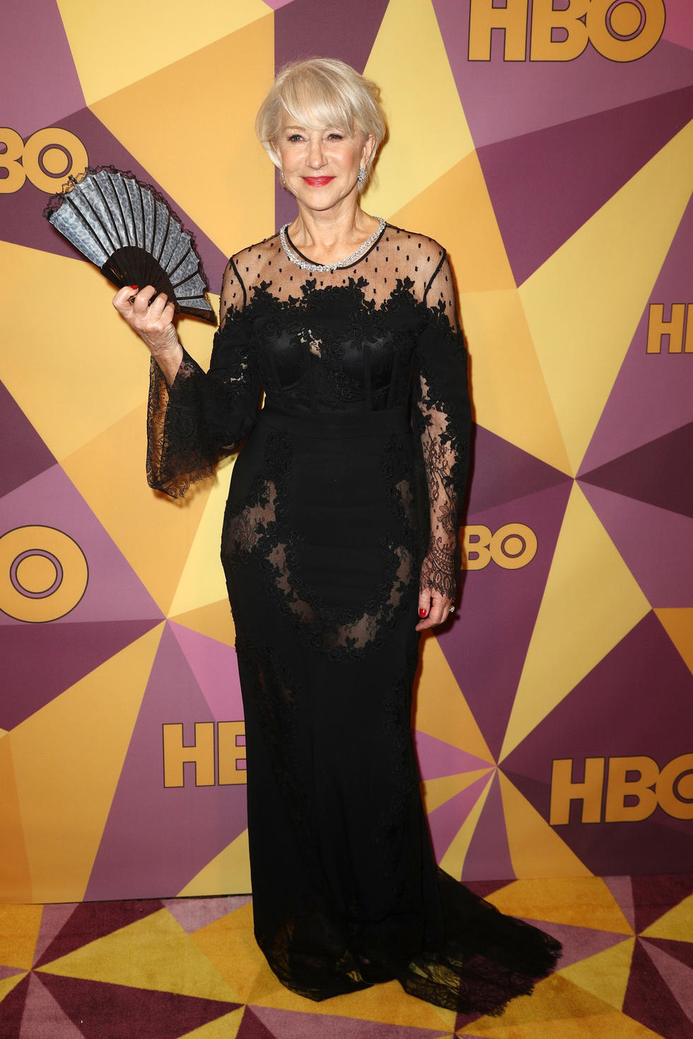'The Leisure Seeker' star Helen Mirren arrived in a lace-paneled gown by Zuhair Murad