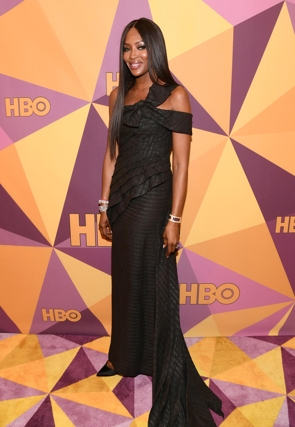 Model Naomi Campbell in a custom Jean Paul Gaultier gown