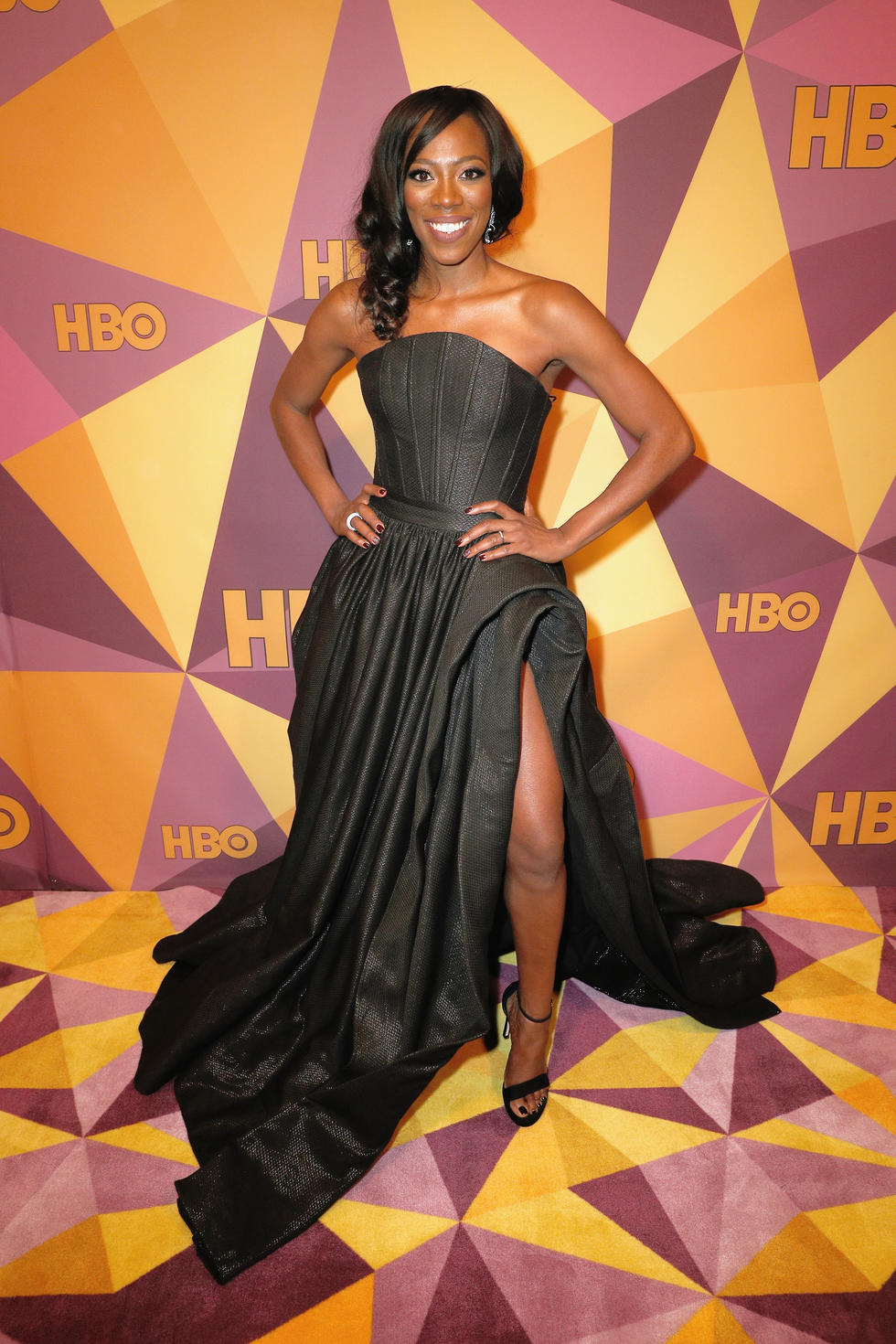 'Insecure' star Yvonne Orji arrived wearing a Walter Mendez gown teamed with Stuart Weitzman heels