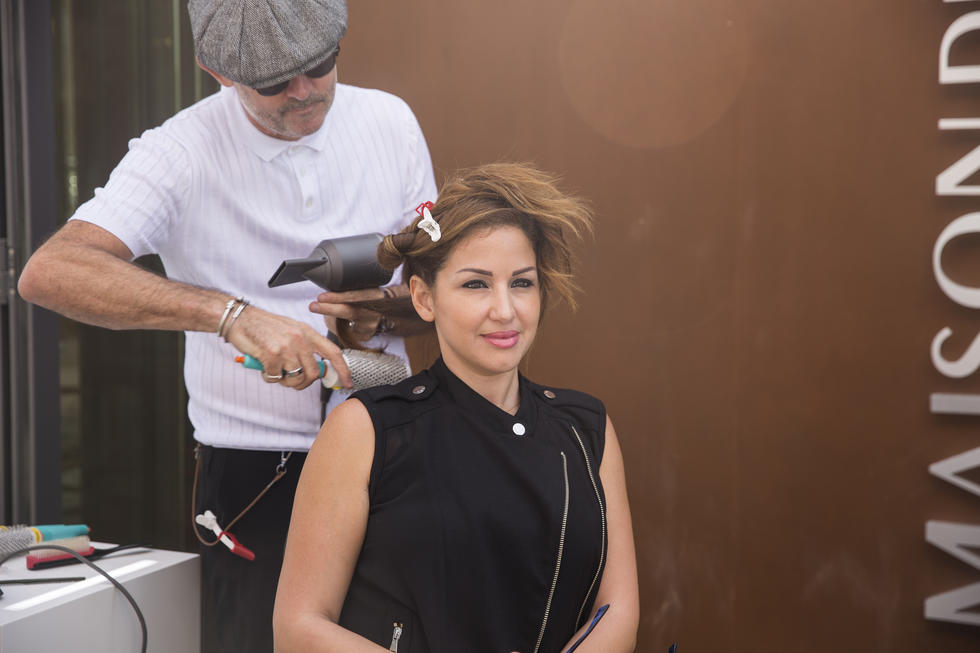 Dyson's styling experts giving the ladies blowouts