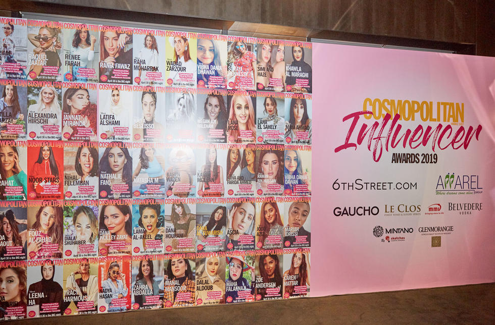 Our Influencer media wall was decorated by all our nominees on their very own custom Cosmo cover