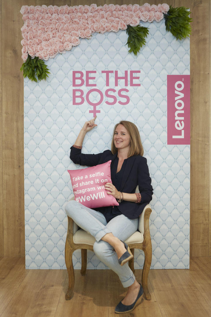 Posing by the fab Be The Boss wall.