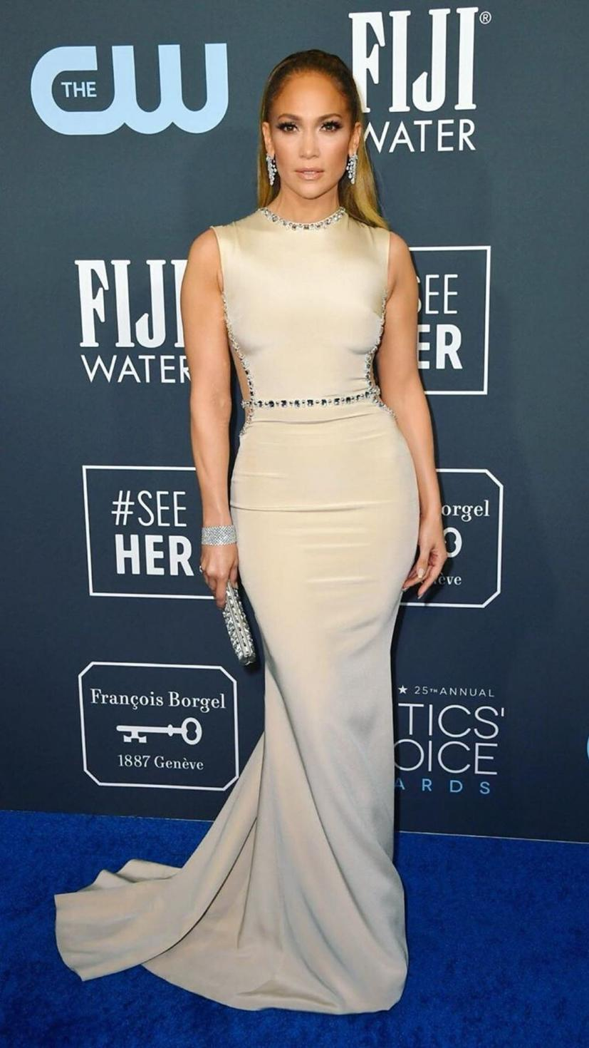 JLo rocks up to the Critics Choice Awards in a Georges Hobeika gown, Harry Winston jewels and Jimmy Choo shoes.