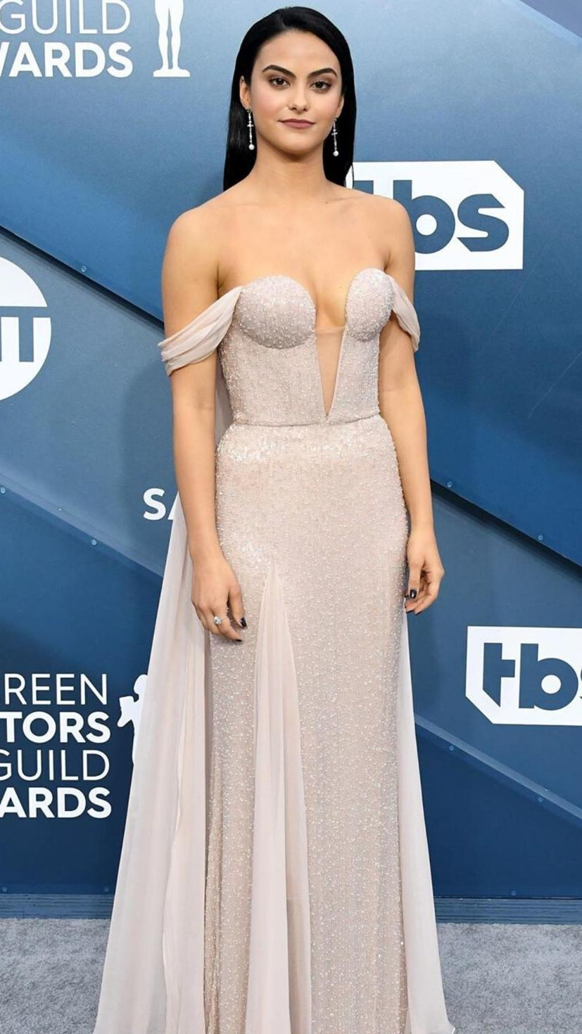 Camila Mendes wears a pink Ralph & Russo gown