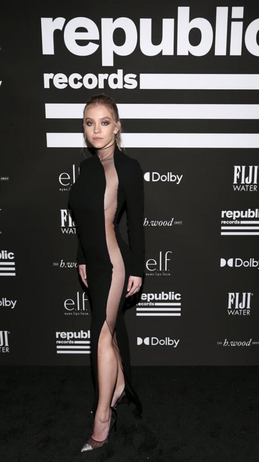 Sydney Sweeney wears a sheer dress from Tom Ford