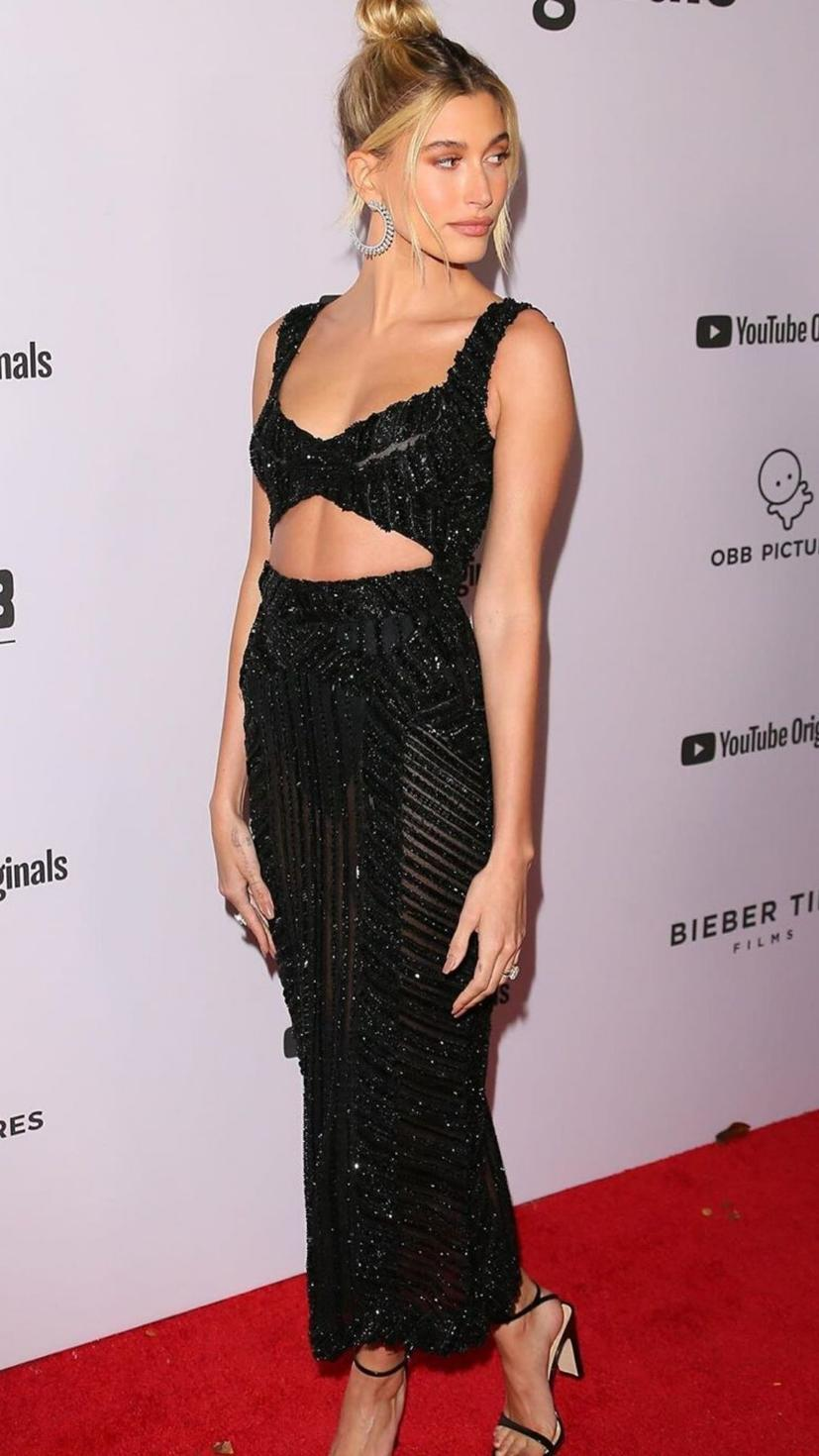 Hailey Bieber wore Zuhair Murad Couture to the premiere of her husband Justin Bieber's new series 'Justin Bieber: Seasons'