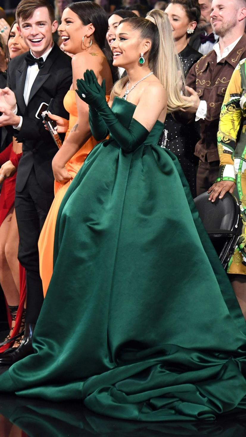 Ariana Grande wore this emerald green Givenchy dress along with Lorraine Schwartz jewellery