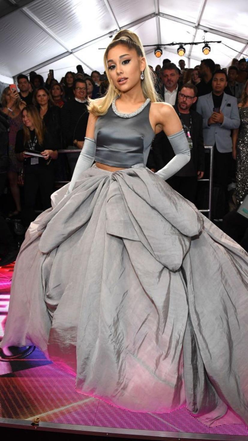 Ariana Grande's second Grammys dress was a custom two-piece from Schiaparelli, along with Lorraine Schwartz jewellery