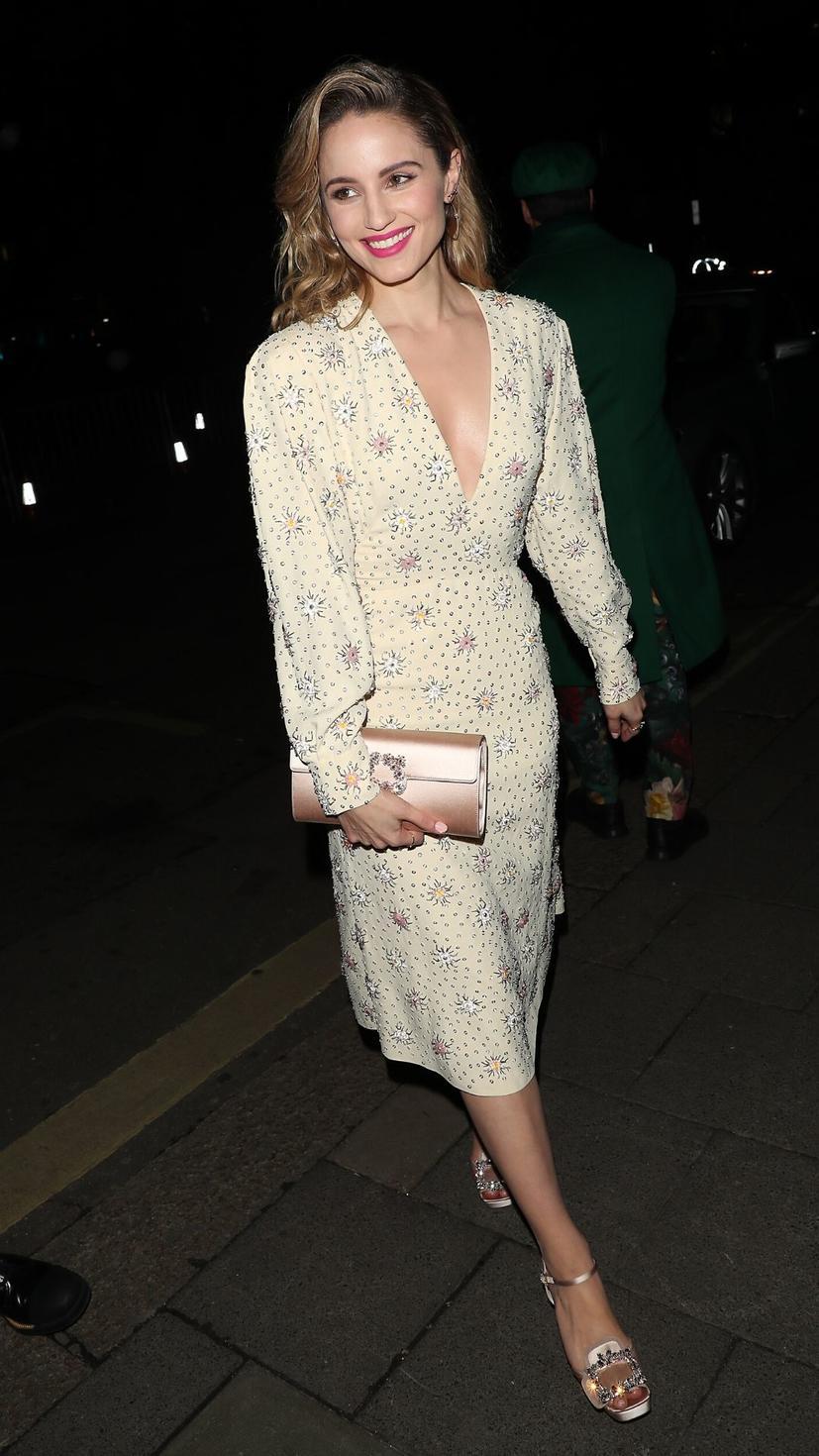 Dianna Agron wears a Miu Miu RS20 dress, a Roger Vivier clutch and platform pumps