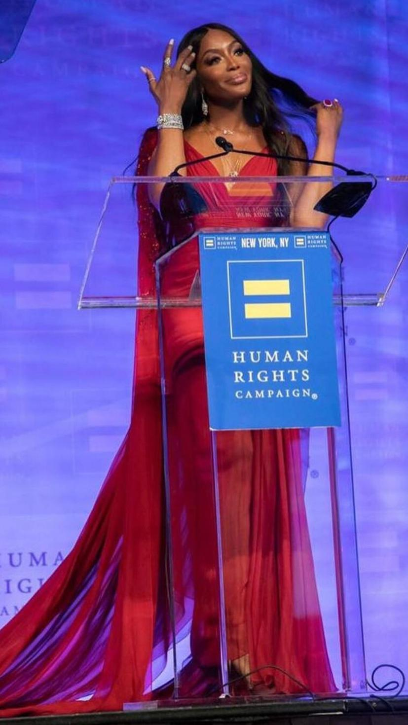 Naomi Campbell receives the Global Advocacy Award at the Human Rights Campaign wearing a gown by Lebanese designer Zuhair Murad