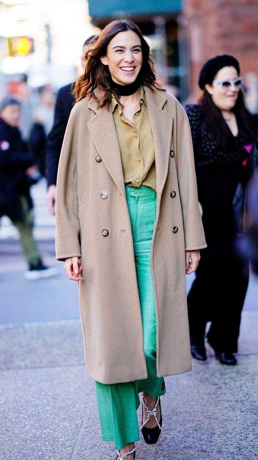 Alexa Chung steps out in a Max Mara icon coat, mint green Gucci trousers and Vivietta FW19 mary-jane shoes
