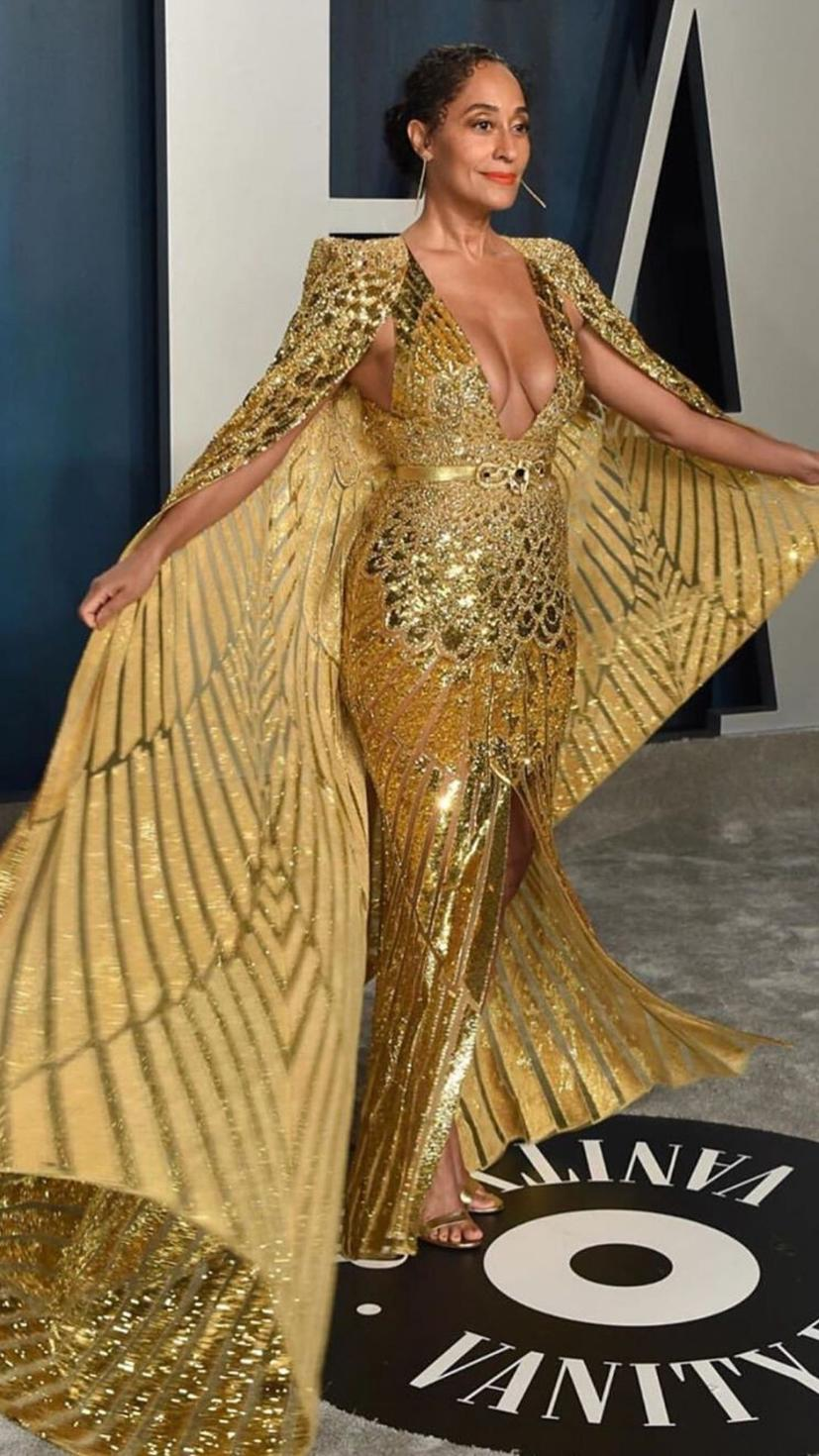 Tracee Ellis Ross stuns in a golden Zuhair Murad gown, Jennifer Meyer jewellery, and Gianvito Rossi shoes