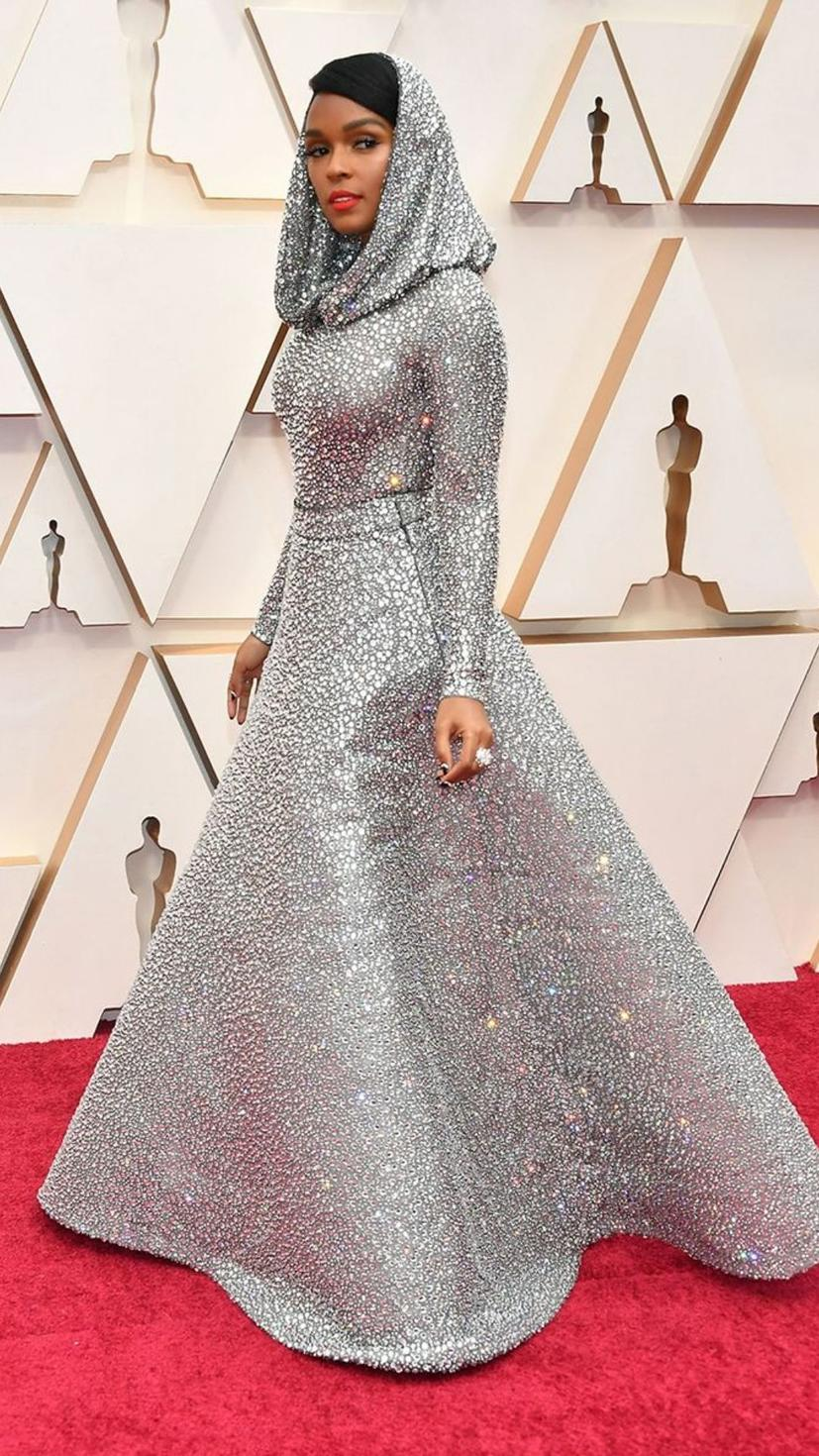 Janelle Monae wears a gown from Ralph Lauren and jewellery from Forevermark