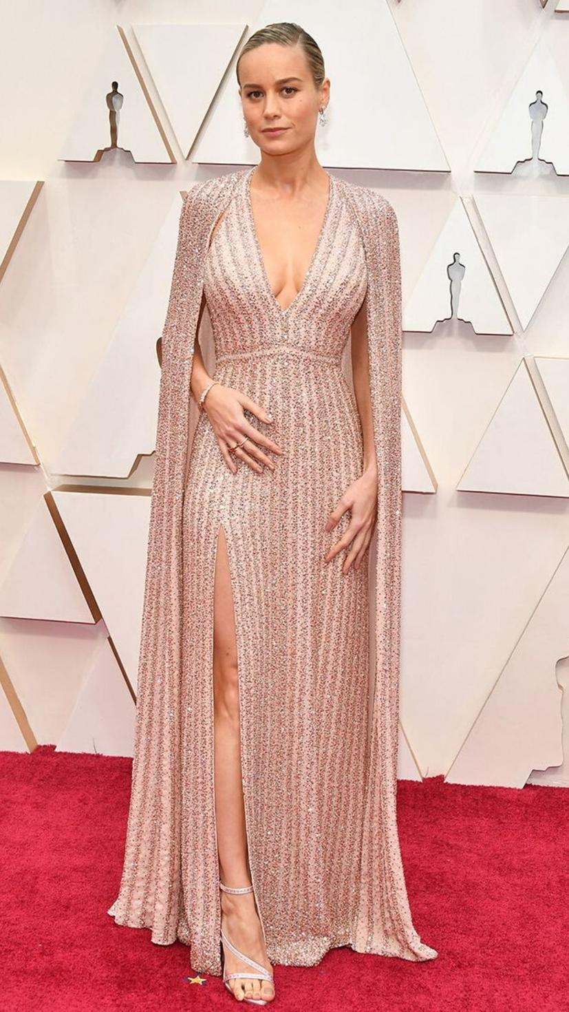 Brie Larson wears a gown from Celine and jewellery from Bulgari