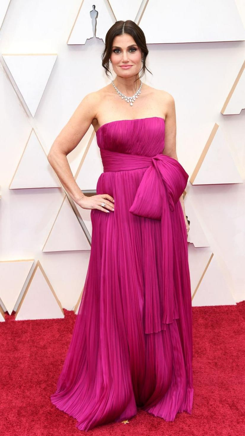 Idina Menzel wears a dress from J. Mendel and jewellery from Harry Winston