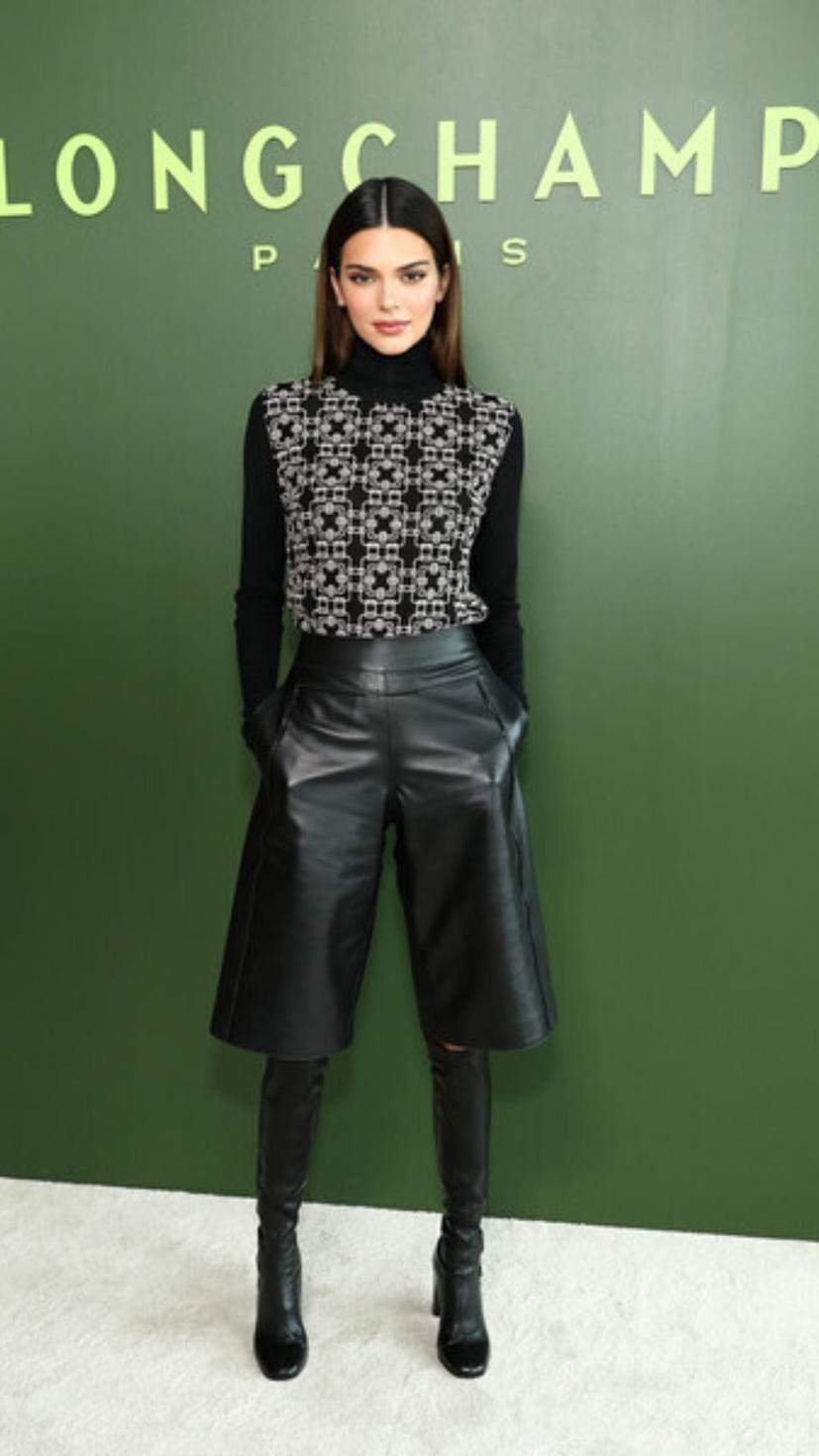 Kendall Jenner attending Longchamp show with Lonchamp full outfit