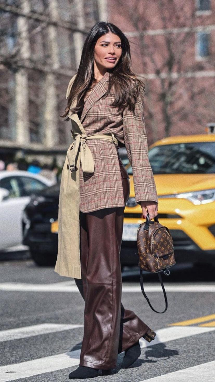Alanoud Badr at Tresemme Arabia wearing coat from Dina Shaker, bag from Louis Vuitton, and pants from Zara