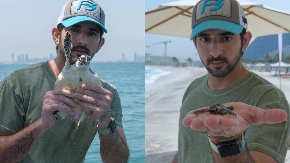 Sheikh Hamdan releasing turtles into the wild is all you need to see today